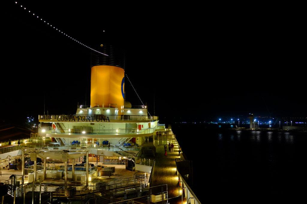 Costa Fortuna boat at night with the fujifilm X100S