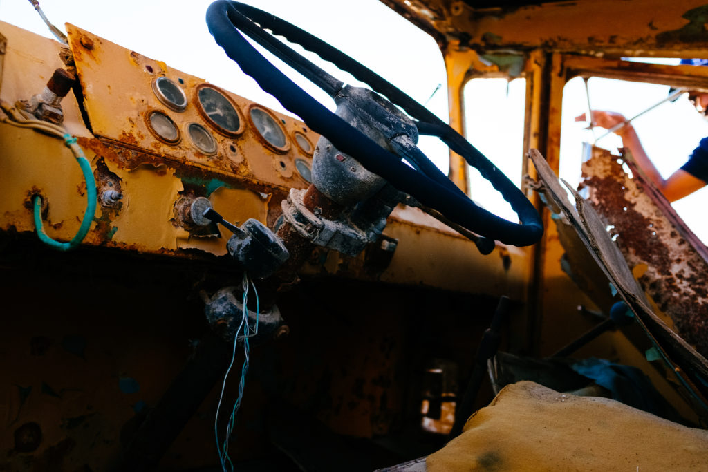 Inside an abandoned truck with fuji X100s with velvia simulation