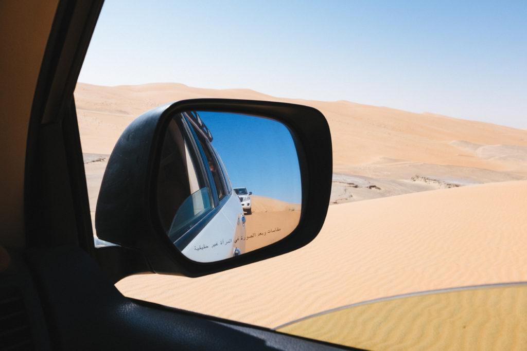 Desert shot, polarized effect in mirror