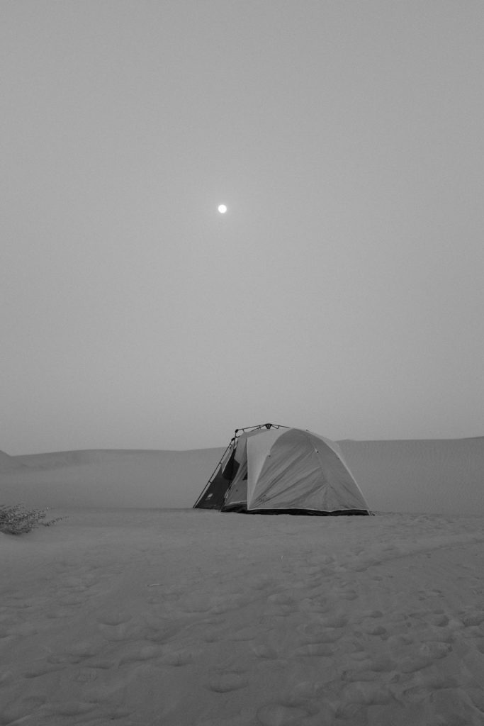 tent with moon in desert, shot with fuji X100s